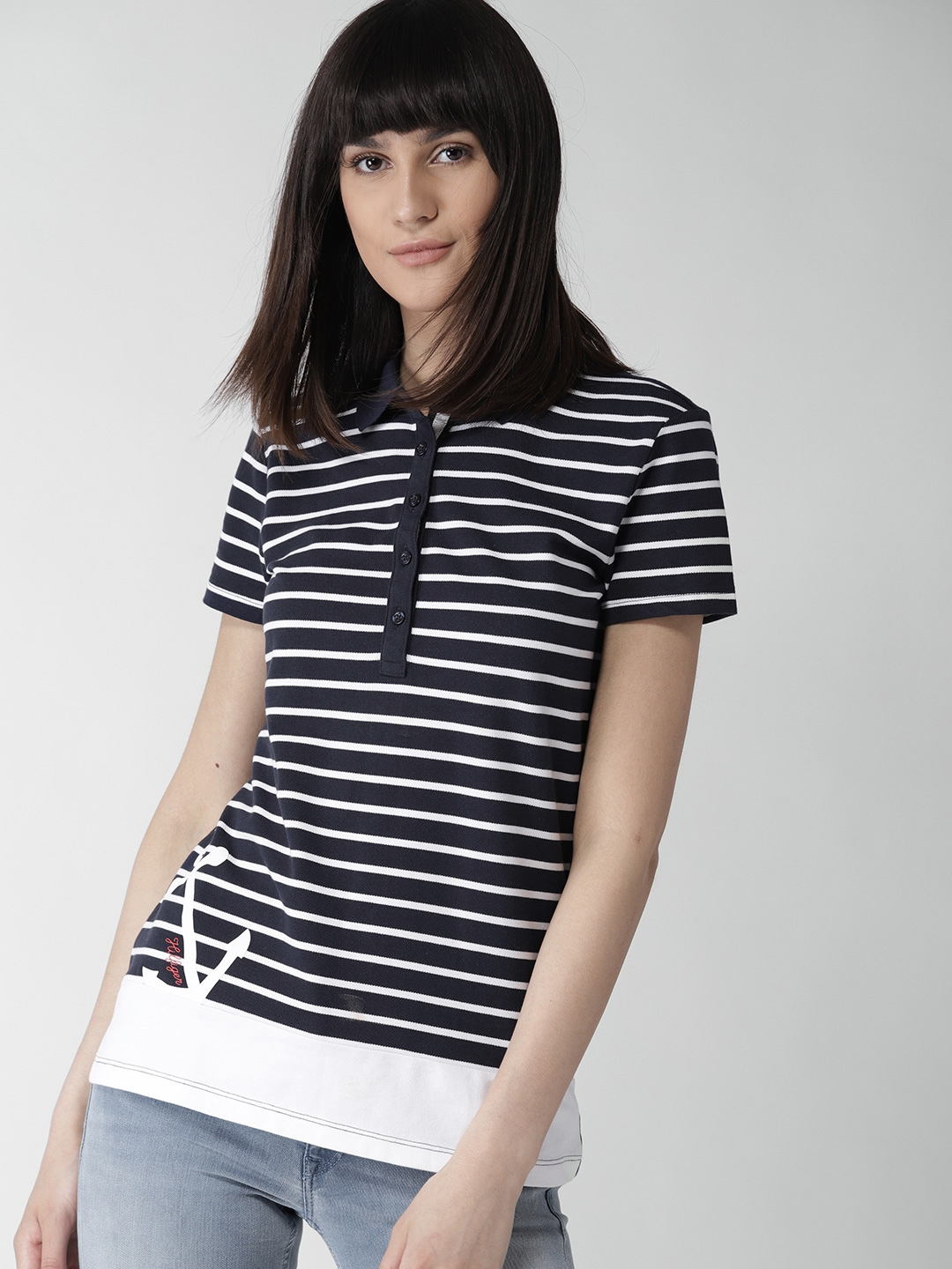 63dbbd91 Buy Tommy Hilfiger Women Navy Blue & White Striped Polo Collar T ...