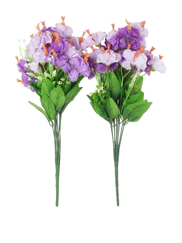 Buy Fourwalls Set Of 2 Purple Green Artificial Hibiscus Flower