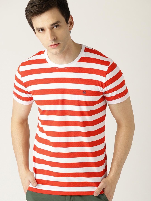 403c136ec2 United Colors of Benetton Men White & Orange Striped Round Neck T-shirt