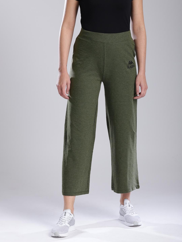c21d77bab3ac44 Buy Kappa Women Olive Green Solid Wide Leg Yoga Pants - Track Pants ...