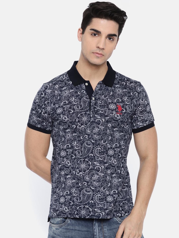 f7c3184a Buy U.S. Polo Assn. Men Navy Blue Printed Polo Collar T Shirt ...