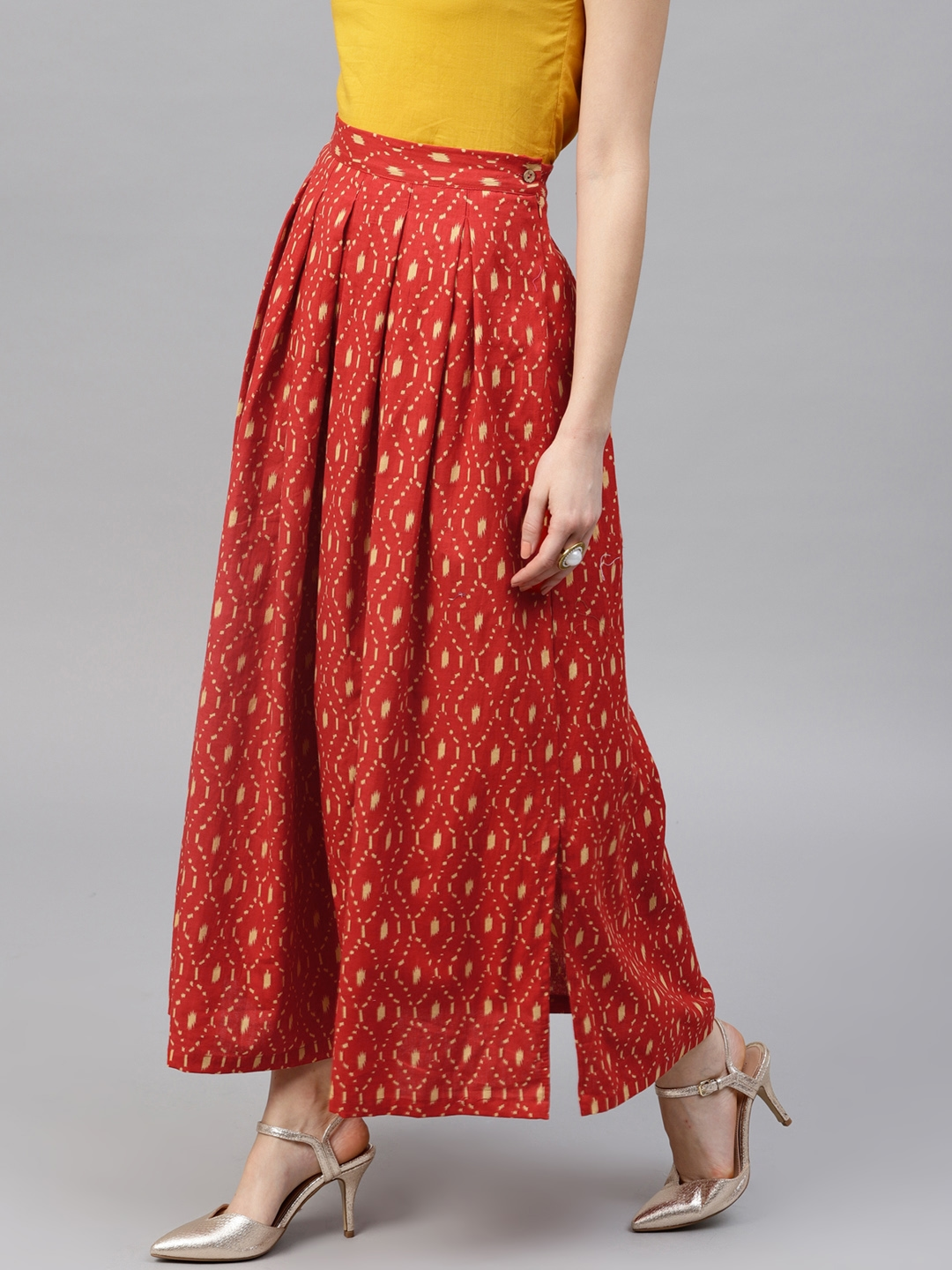 9c2be0fd5 Buy AKS Red Printed Flared Maxi Skirt - Skirts for Women 6600877 ...