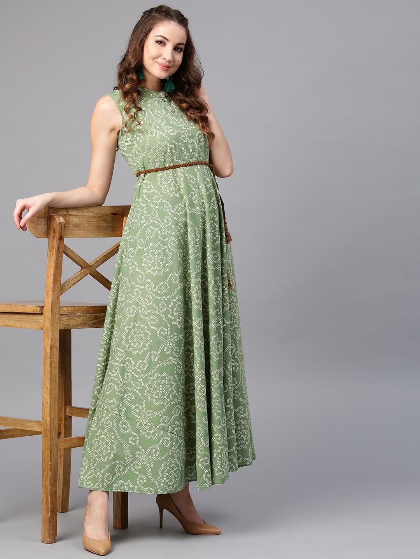 9ee9b05b0c Buy AKS Women Green Bandhani Print Maxi Dress - Dresses for Women ...