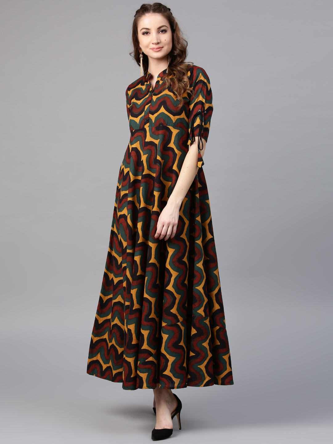 56e12e2c0d0 Buy AKS Women Mustard Yellow   Brown Printed Maxi Dress - Dresses ...