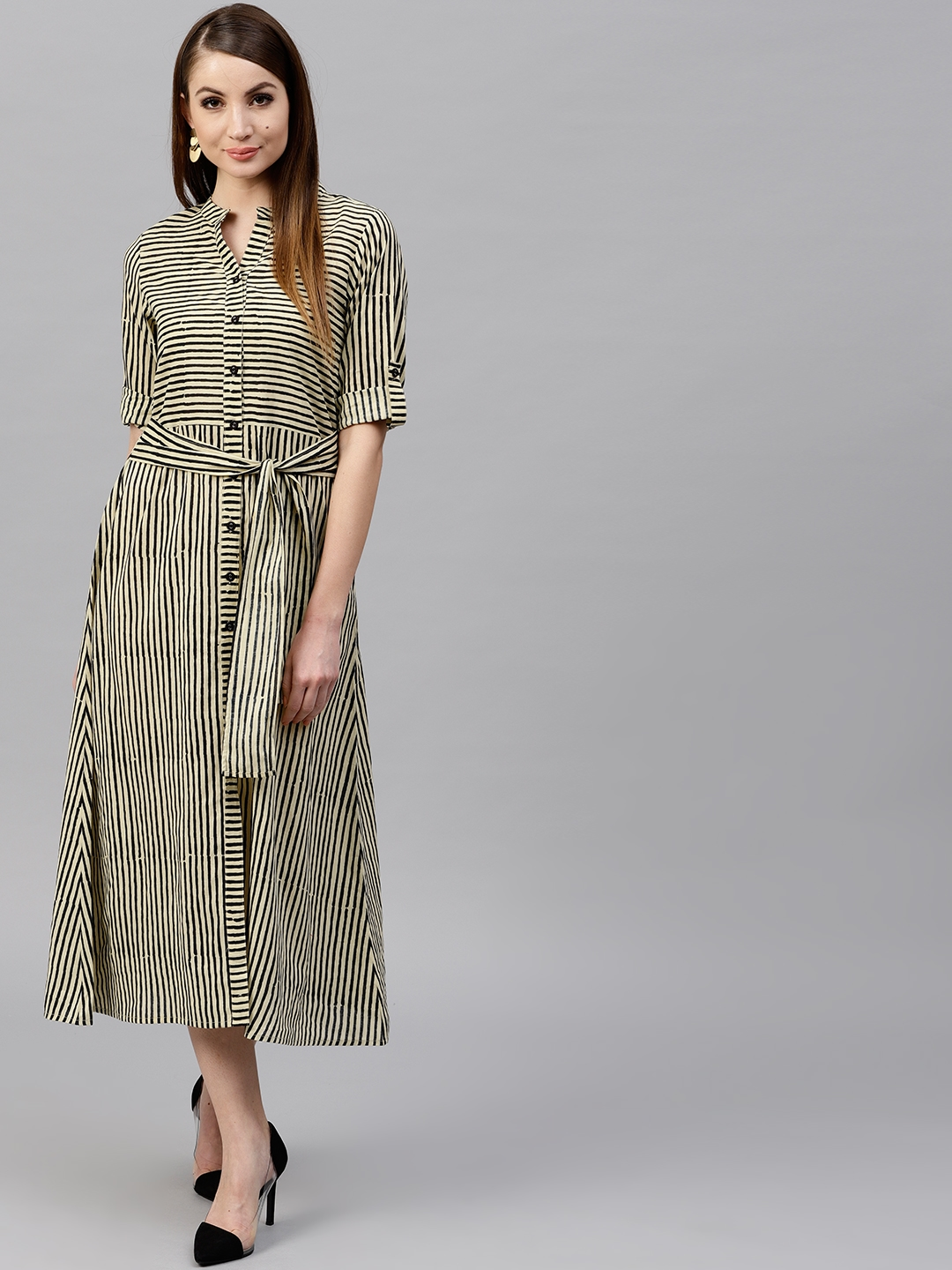 AKS Women Beige Striped A Line Dress