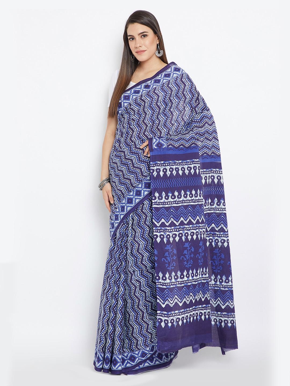 9500f17253b Kalakari India Navy Blue & White Indigo Screen Print Handcrafted Cotton  Saree