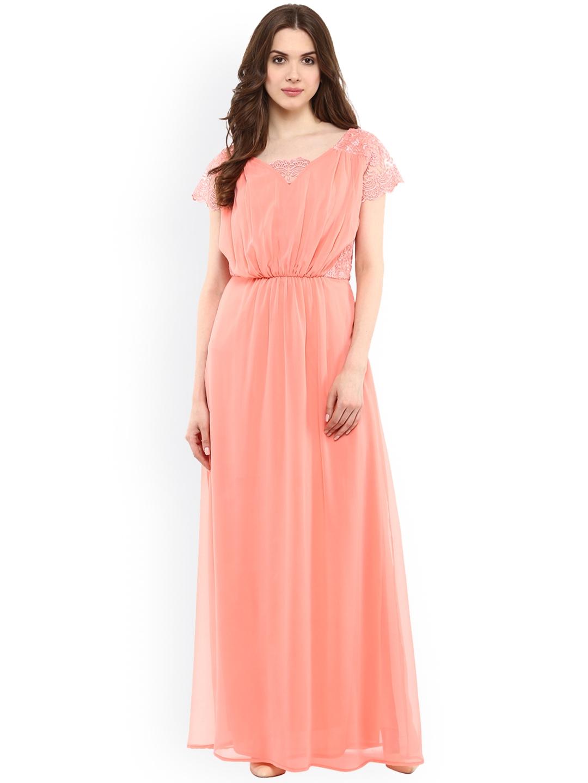 938d2b6ac2 Buy La Zoire Women Peach Coloured Self Design Maxi Dress - Dresses ...