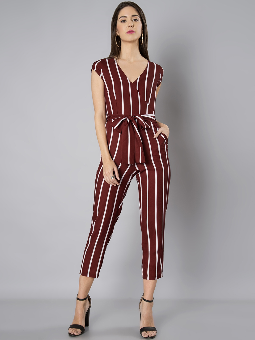 b613c05baf0 Buy FabAlley Maroon   White Striped Basic Jumpsuit - Jumpsuit for ...