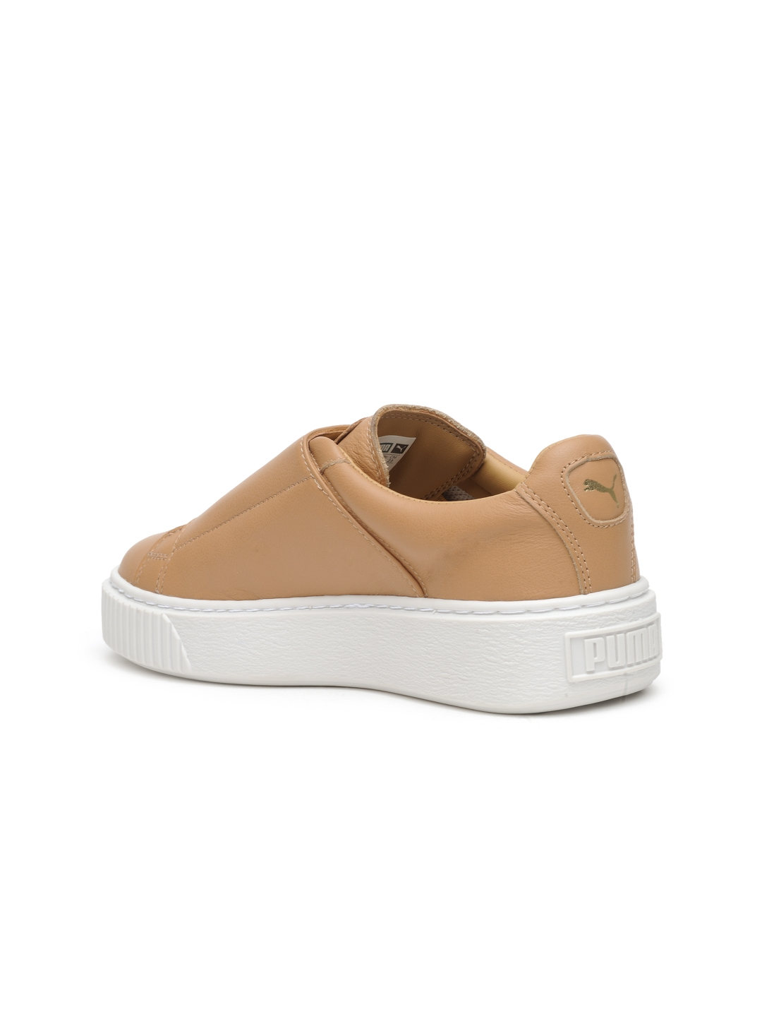 14469dda64c Puma Women Tan Brown Basket Platform Strap Wn s Leather Slip-On Sneakers