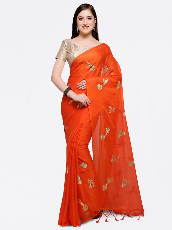 Colors Orange Woven Design Poly Georgette Saree