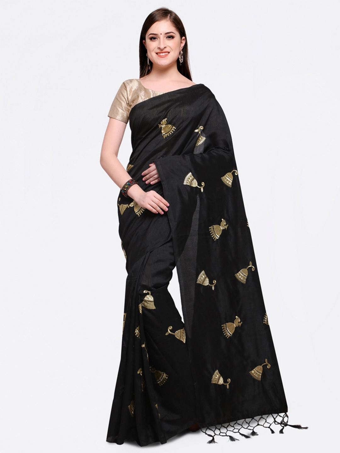 Black Embroidered Poly Georgette Saree