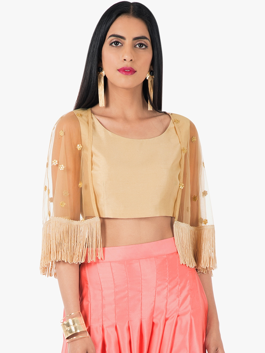 d79075faa06069 Buy INDYA Women Beige Embellished Fitted Crop Top With Cape - Tops ...