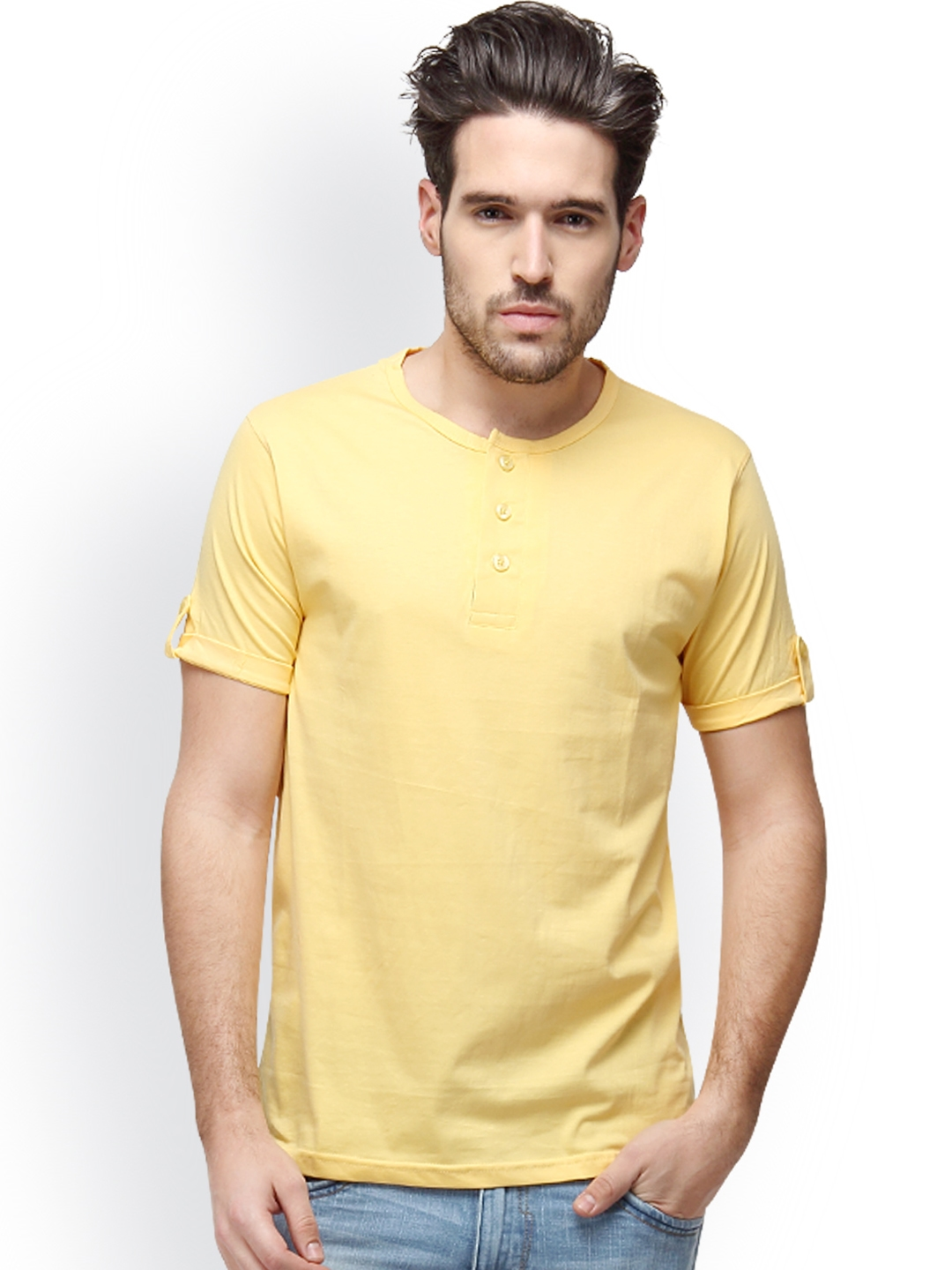 Campus Sutra Men Yellow Solid Henley Neck T shirt