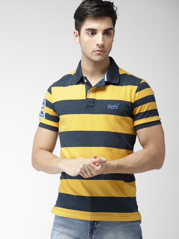 d5b06945d51 Buy Superdry Men Navy & Mustard Yellow Striped Polo Collar T Shirt ...