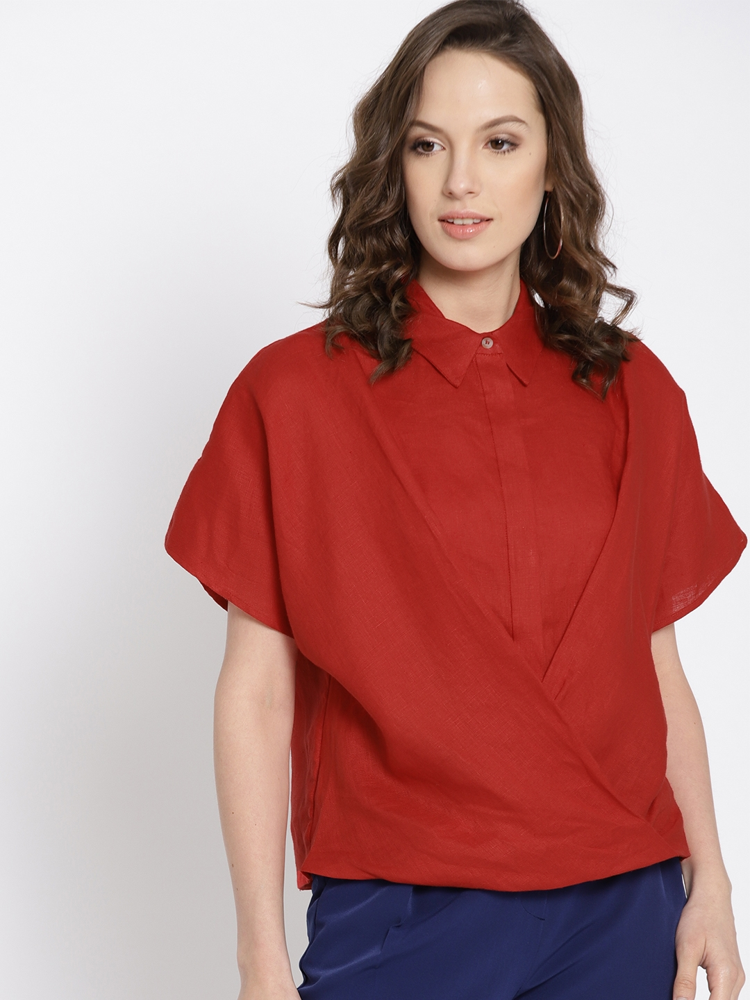 84d84cd0e6 Buy MANGO Women Red Solid Linen Shirt Style Top - Tops for Women ...
