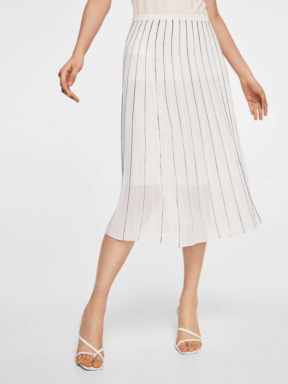 03c8373eb Buy MANGO White & Black Striped Flared Skirt - Skirts for Women ...