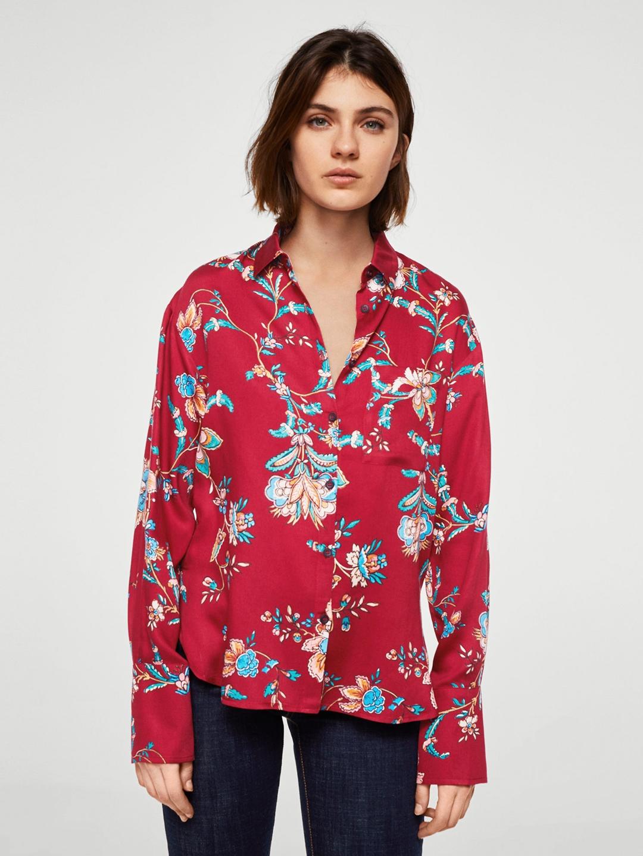 1beba57a09f8 Buy MANGO Women Red Printed Shirt Style Top - Tops for Women 6612543 ...
