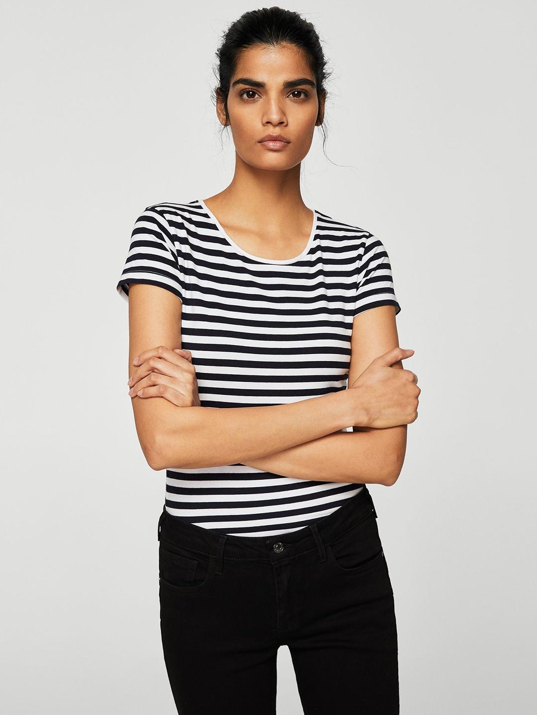 f424999b44 Buy MANGO Women White   Navy Blue Striped Round Neck T Shirt ...