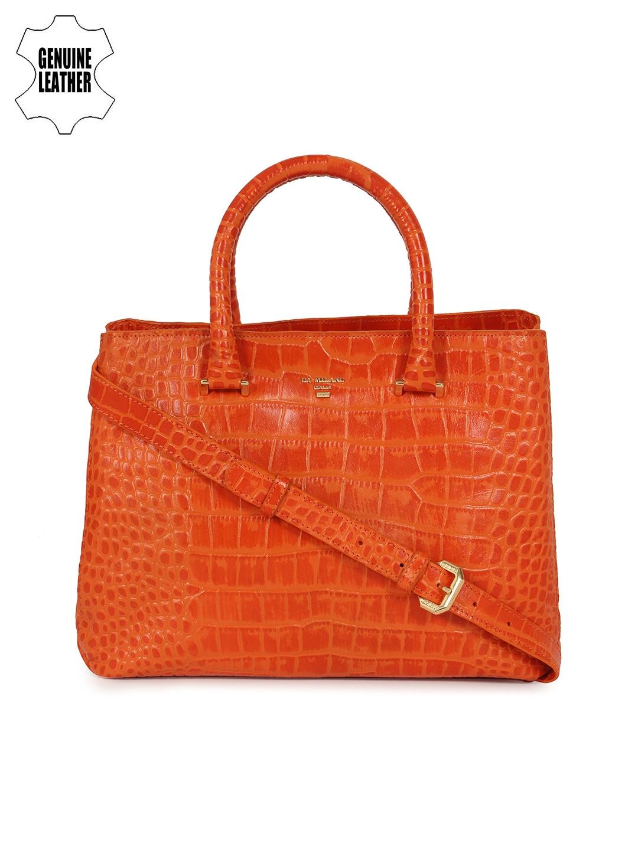 939ed77ea Buy Da Milano Orange Animal Print Textured Genuine Leather Handheld ...