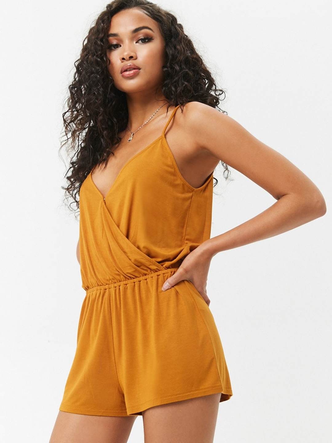 Buy Forever 21 Mustard Yellow Solid Playsuit Jumpsuit For Women