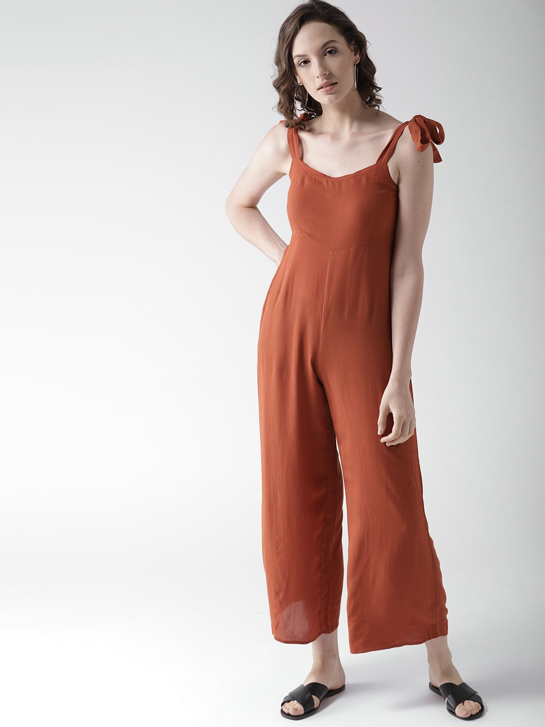 8b0aeb517f0 Buy FOREVER 21 Rust Brown Solid Basic Jumpsuit - Jumpsuit for Women ...