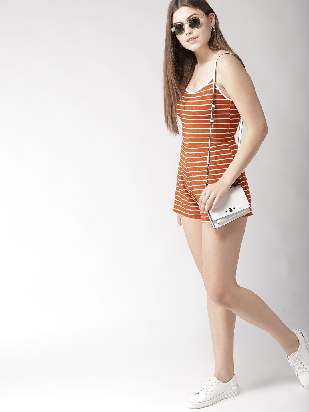 11a1ce4e126f Buy FOREVER 21 Rust Brown   White Striped Playsuit - Jumpsuit for ...