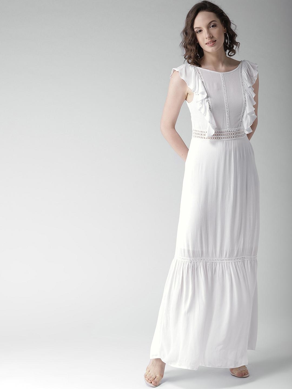 82115f1353fa Buy FOREVER 21 Women White Solid Ruffled Maxi Dress - Dresses for ...