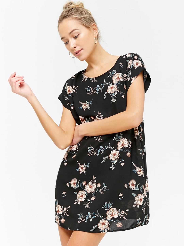 dfe7e223135 Buy FOREVER 21 Women Black Printed A Line Dress - Dresses for Women ...