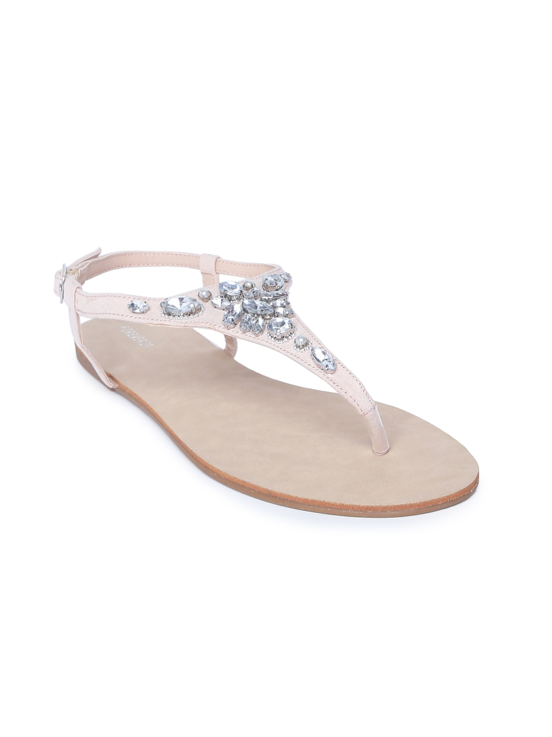 171471a0b Buy FOREVER 21 Women Nude Coloured Embellished T Strap Flats - Flats ...