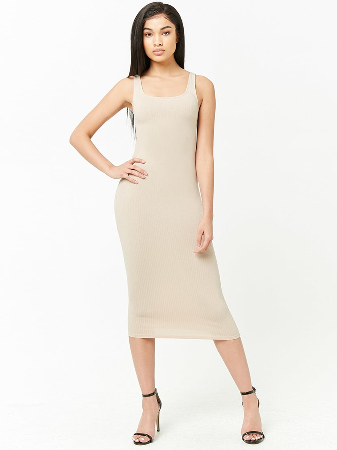 07590bc86dc Buy FOREVER 21 Women Nude Coloured Striped Bodycon Dress - Dresses ...