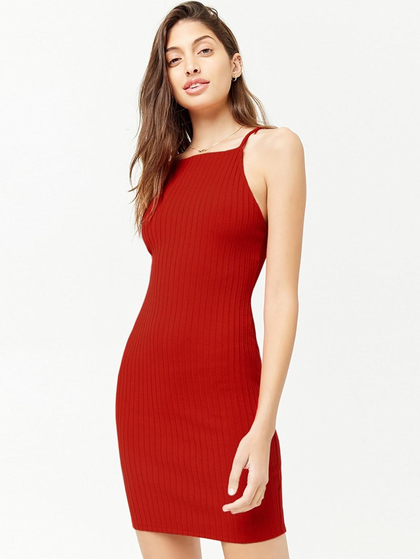 1834b9d54f Buy FOREVER 21 Women Red Striped Bodycon Dress - Dresses for Women ...