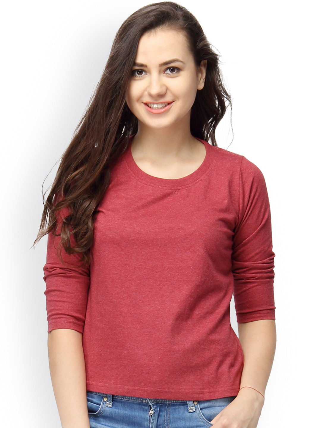 Campus Sutra Women Maroon Solid Top