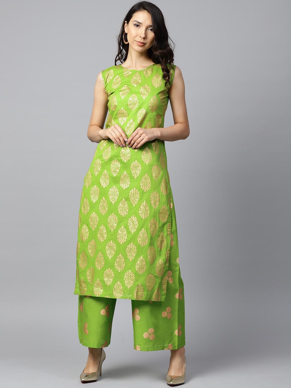 c83797f6356 Buy Nayo Women Green   GoldenPrinted Kurta With Palazzos - Kurta ...