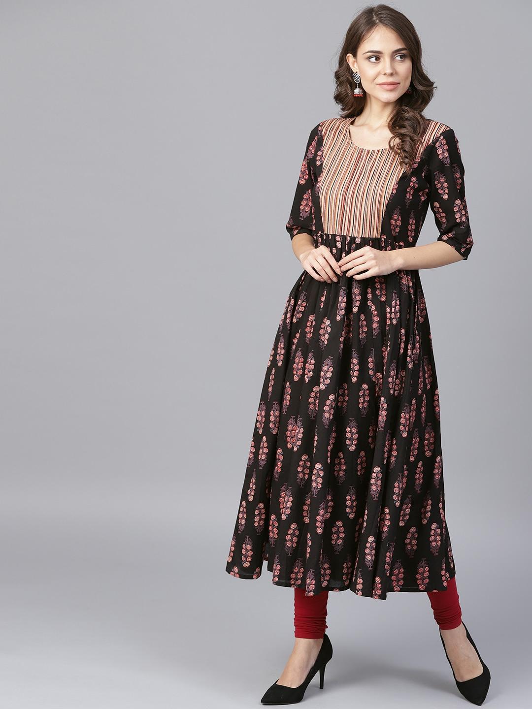 184e54042f6 Buy Nayo Women Black   Maroon Printed Anarkali Kurta - Kurtas for ...