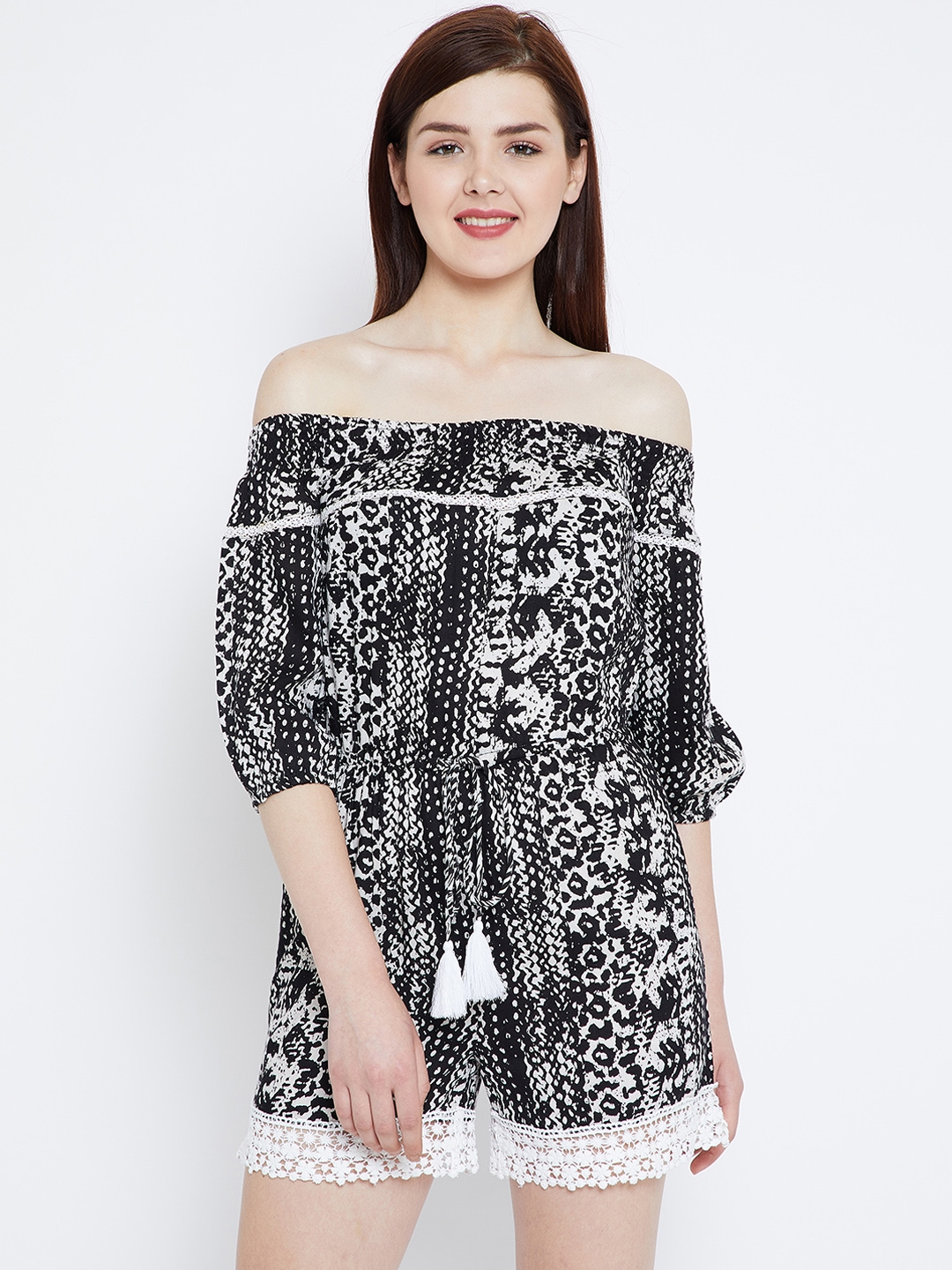 b02b38d057ef Buy Zastraa Black Printed Off Shoulder Jumpsuit - Jumpsuit for Women ...