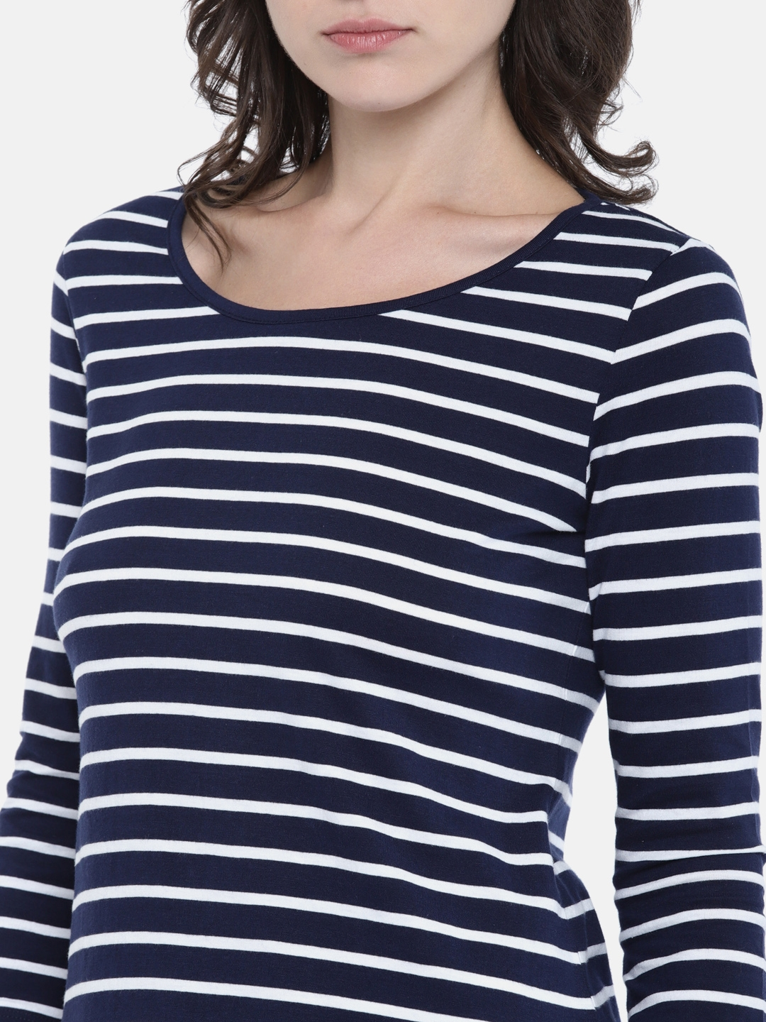 9ff29c71f5b32f Buy Fame Forever By Lifestyle Women Navy & White Striped Top - Tops ...