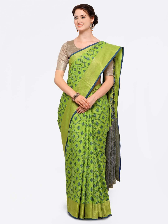 666670c1790f60 Buy Stylee LIFESTYLE Green Silk Blend Jacquard Woven Design Patola ...