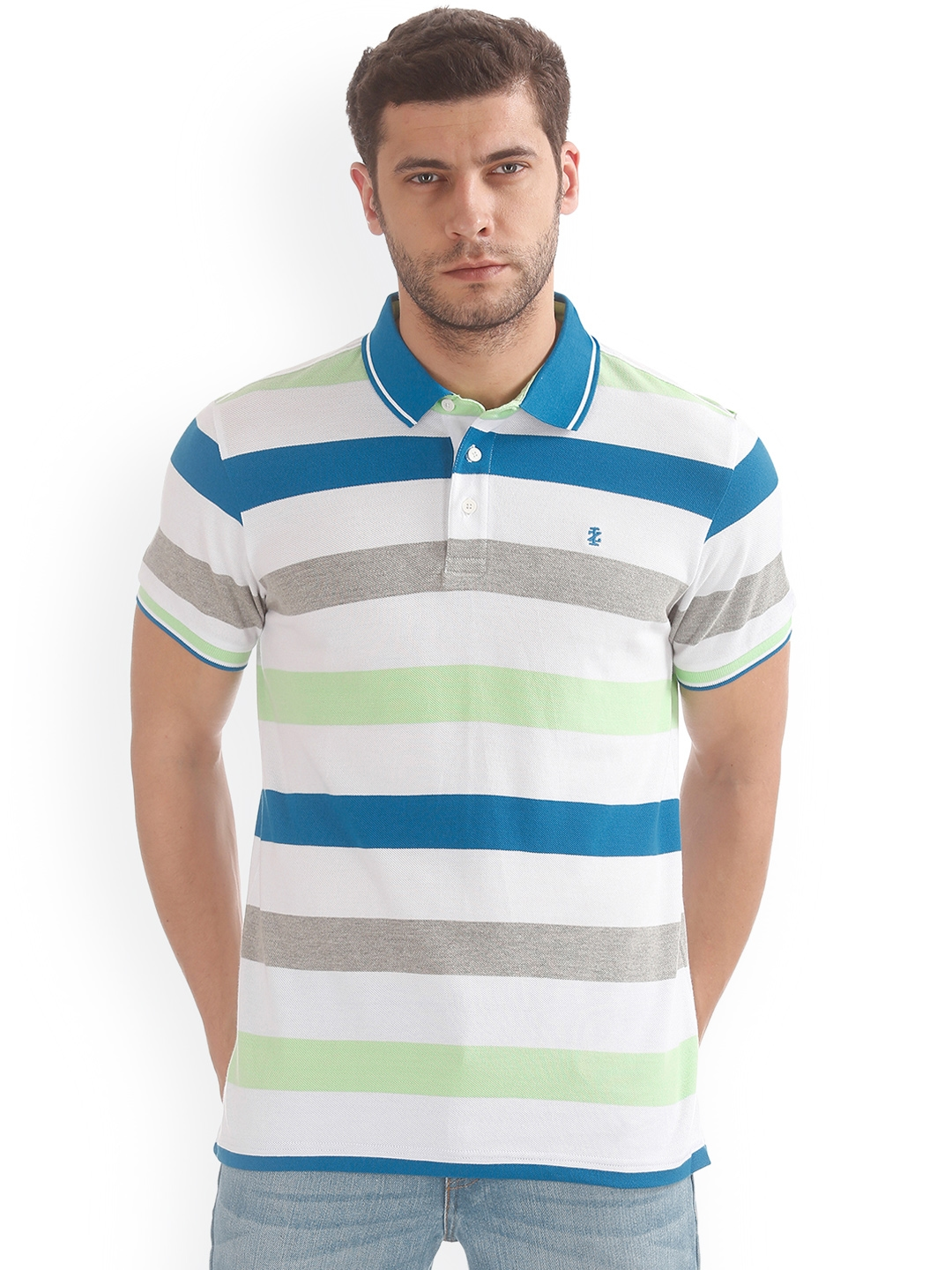 694bbe1b7a05b9 Buy IZOD Men Multicoloured Striped Polo Collar T Shirt - Tshirts for ...