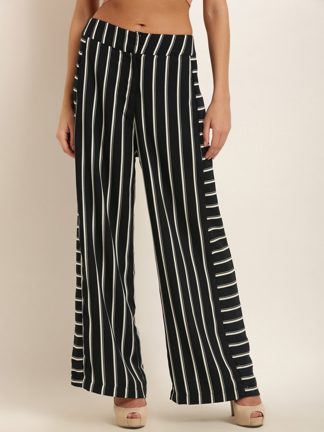 6c93370cf613 Marie Claire Women Navy Blue   White Regular Fit Striped Parallel Trousers
