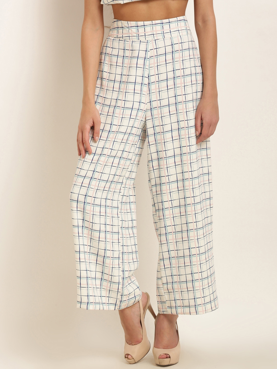 09e99aa53dda Marie Claire Women Off-White   Blue Regular Fit Checked Parallel Trousers