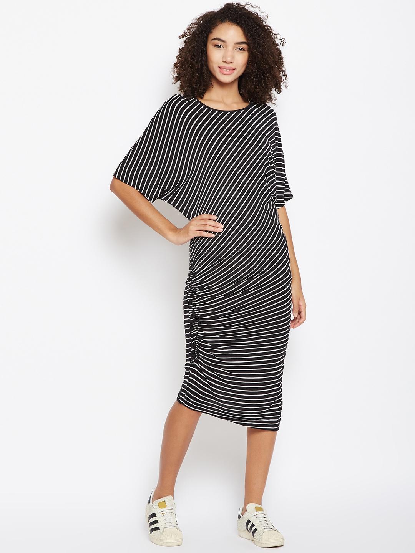 4ed53b2106 Buy Femella Women Black Striped T Shirt Dress - Dresses for Women ...