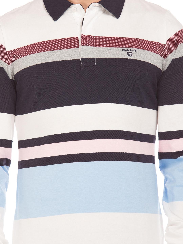 c33fd609ba Buy GANT Men White & Blue Striped Polo Collar T Shirt - Tshirts for ...