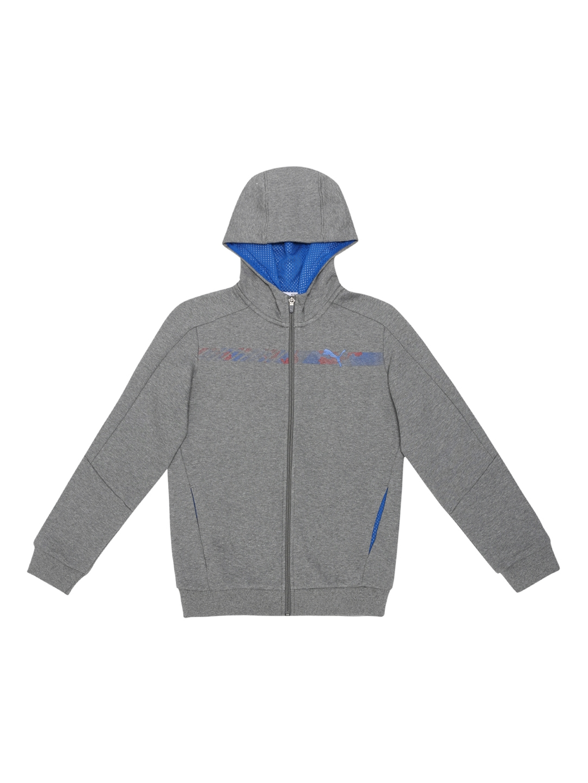 Buy Puma Hero FZ Boys Grey Printed Hooded Sporty Jacket - Jackets ... e53ae86dc
