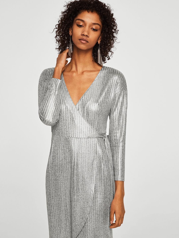 c21e7cd300d4 Buy MANGO Women Silver Self Striped Wrap Dress - Dresses for Women ...