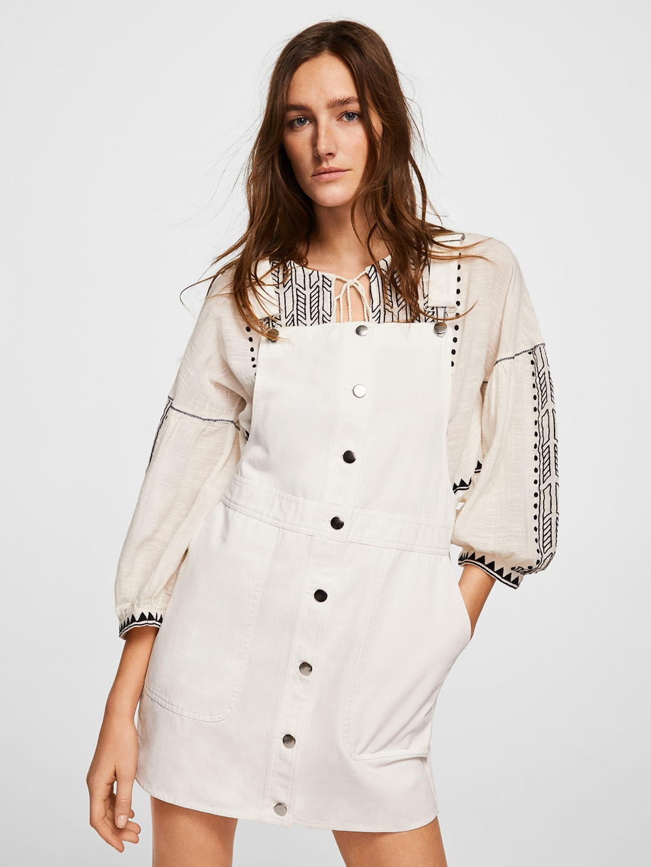 194c25521a3 Buy MANGO Women White Denim Solid Pinafore Dress - Dresses for Women ...