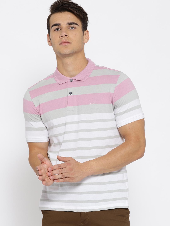 808dedb2b Buy Van Heusen Men Grey & White Striped Polo Collar T Shirt ...