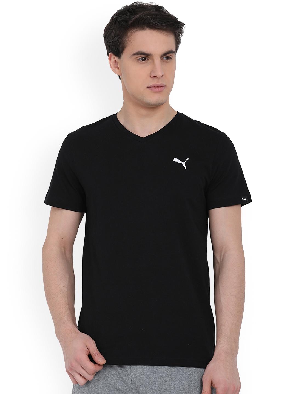 e1f8d421 Buy Puma Men Black Solid ESS V Neck T Shirt - Tshirts for Men ...