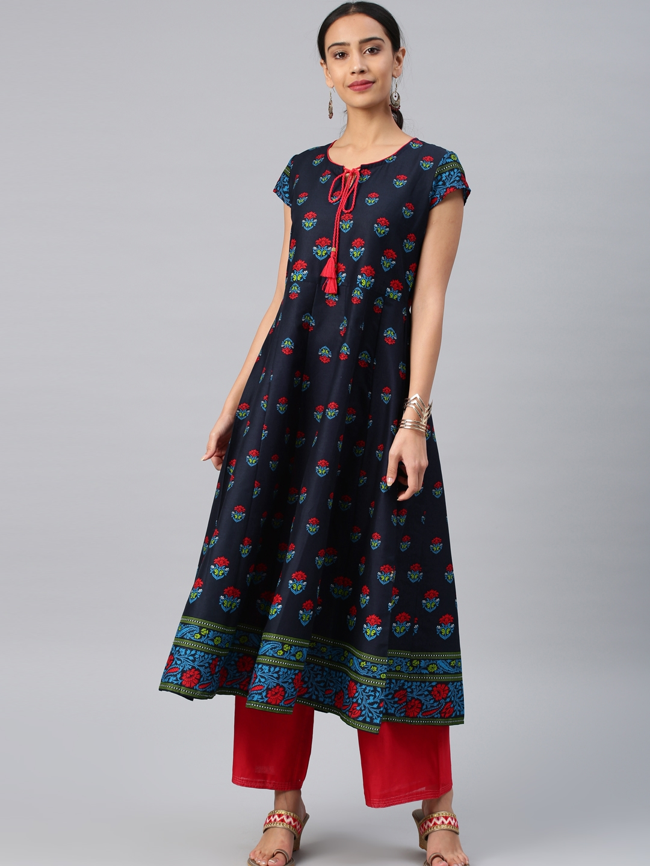 8c3bae96d57 Buy Vishudh Women Navy Blue   Red Printed A Line Kurta - Kurtas for ...