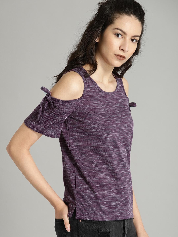 4bb50c866b2a8b Buy Roadster Women Purple Solid Cold Shoulder Top - Tops for Women ...