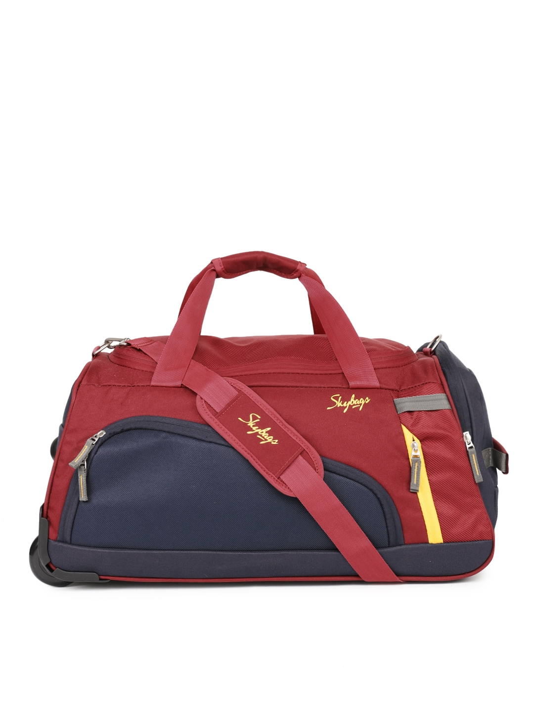 Skybags Unisex Red   Blue Colourblocked HATCH DFT 57 Cabin Trolley Duffel Bag